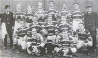 The Dewsbury team which played in the 1918 Yorkshire Cup final. Frank Gallagher is standing on the back row, 3rd left.